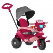 Triciclo Bandeirante Velobaby com Capota Passeio e Pedal - Pink
