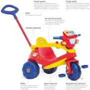 Triciclo Velobaby Passeio & Pedal vermelho - Bandeirante