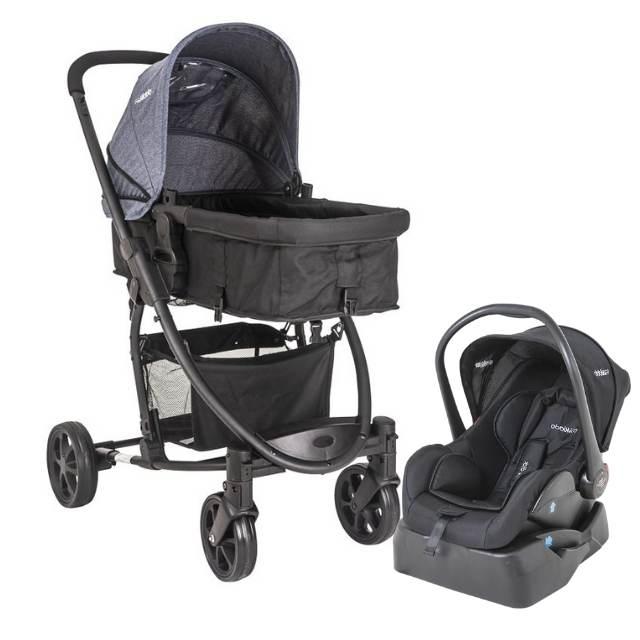 Carrinho Travel System Kiddo Prima - Azul + Bebê Conforto + Base