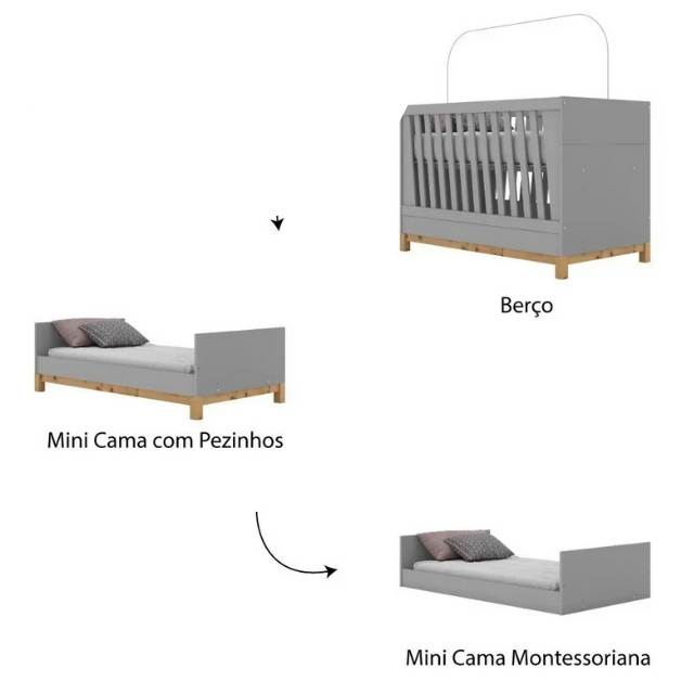 Berço Henn Mini Cama Montessoriano 3 em 1 Alegria - Cinza
