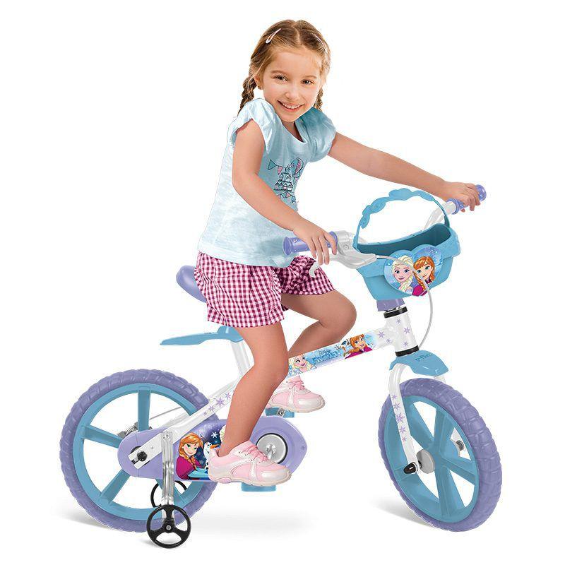 2035b3501 Bicicleta Infantil Frozen Disney Aro 14 Cestinha - Bandeirante ...