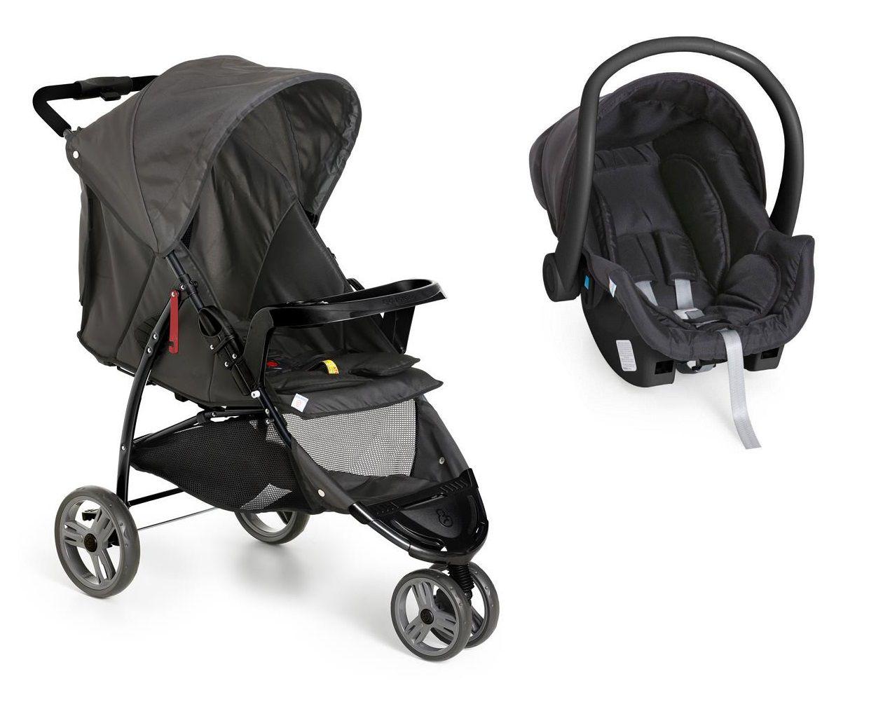 CarrinhoTravel System Galzerano Cross Trail Preto com Bebê Conforto