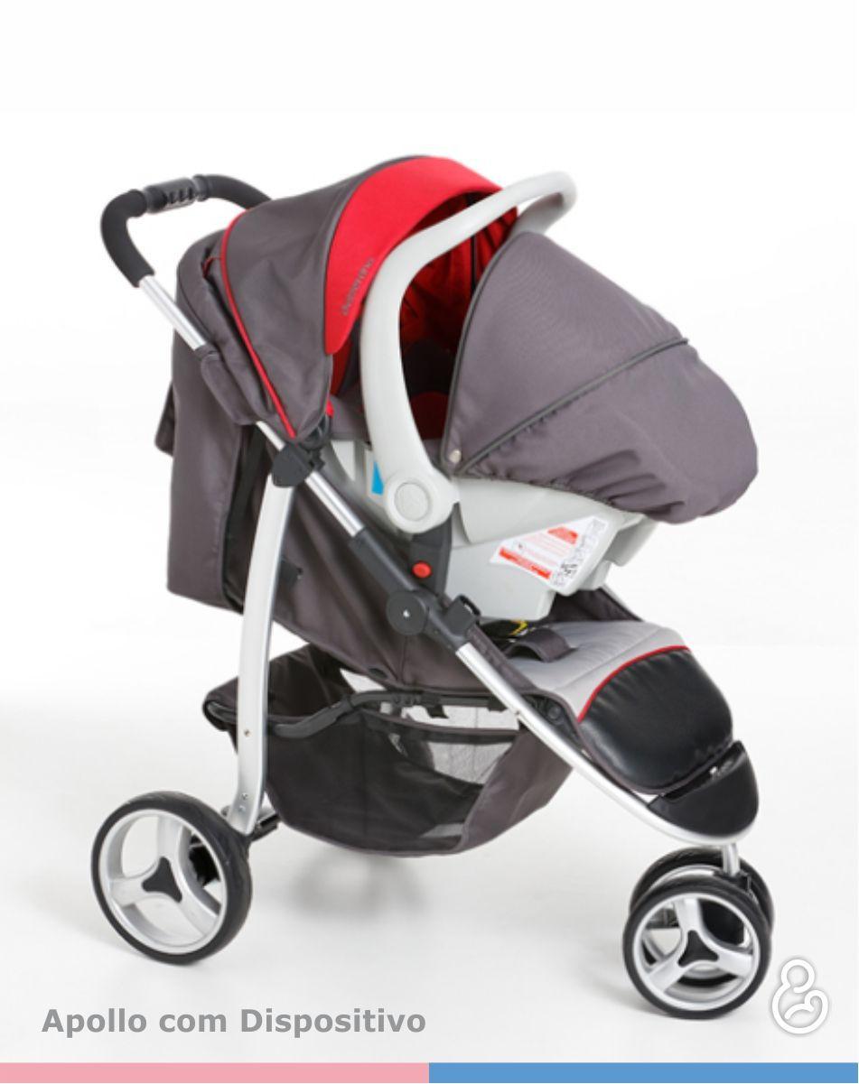 Carrinho 3 Rodas Travel System + Bebê Conforto Apollo Grafite/Vermelho - Galzerano