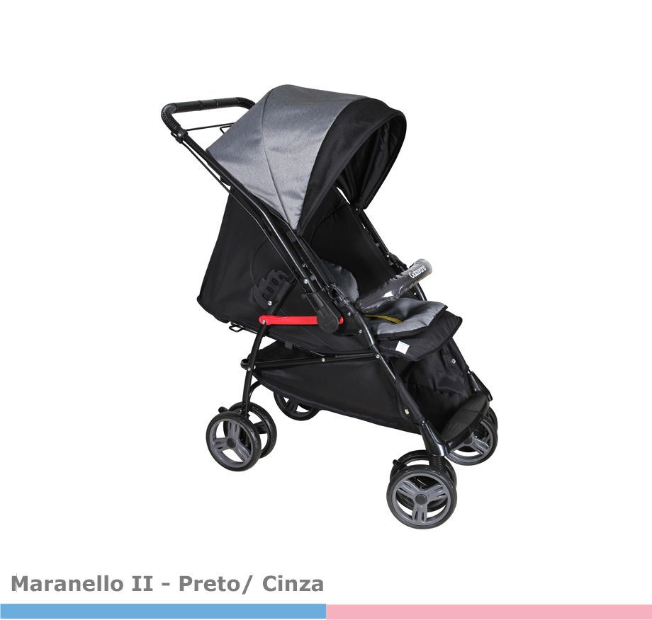 Carrinho Bebê Reversível Maranello II Grafite e Preto - Galzerano