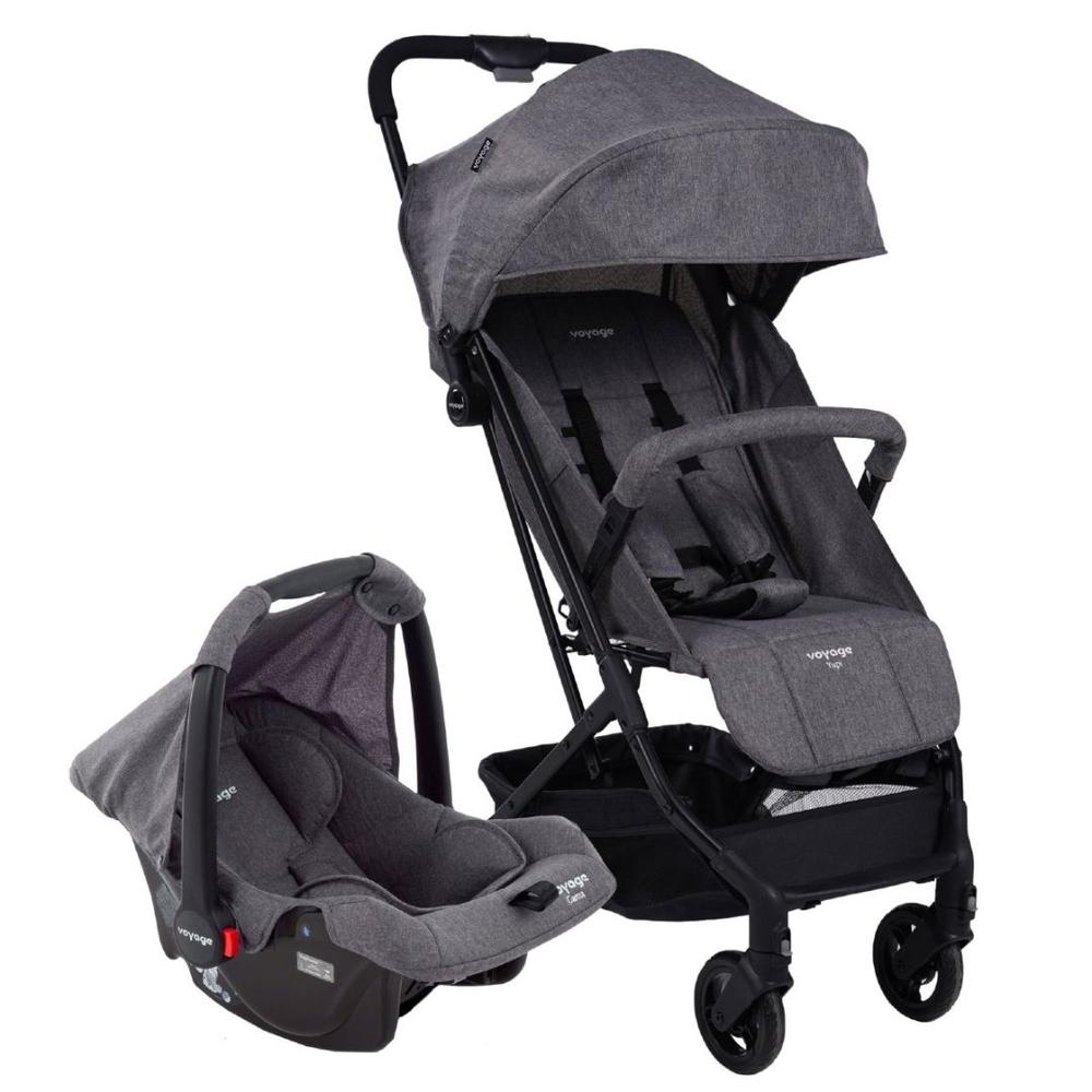 Carrinho com Bebê Conforto Travel System Yupi Cinza - Voyage