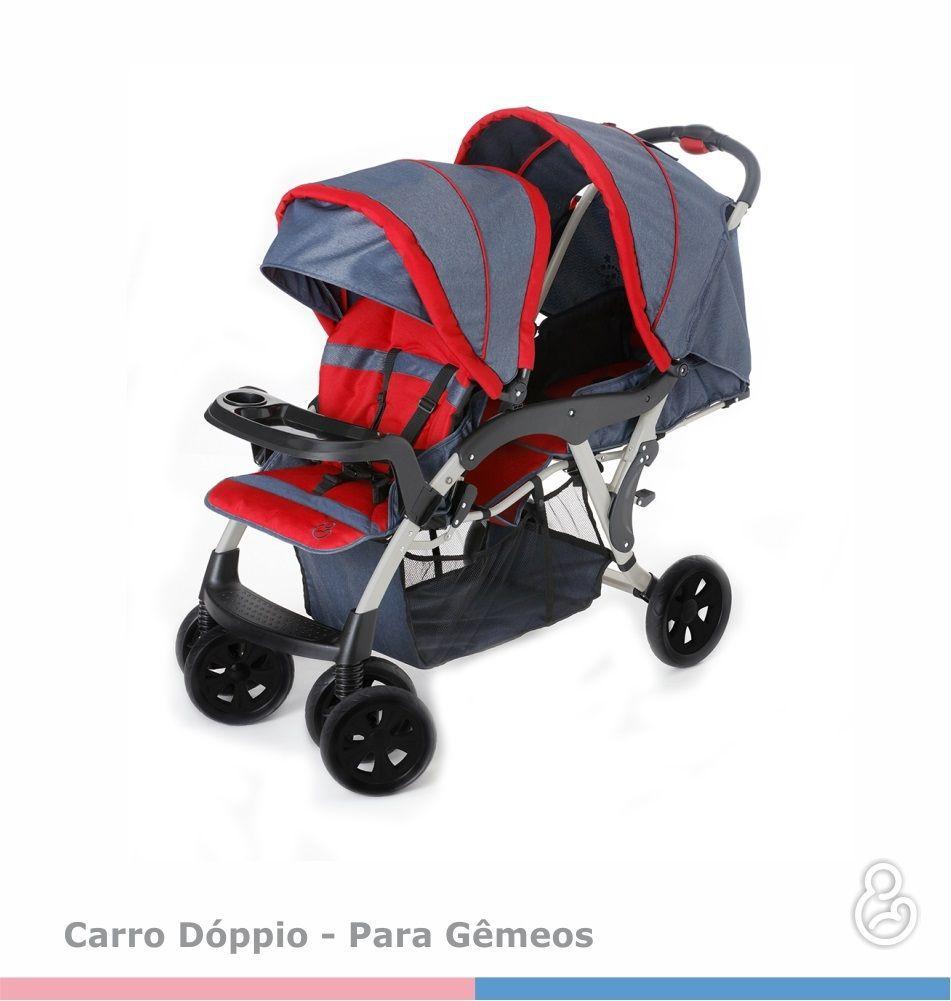 3e48dd1e31f Carrinho de Bebê Doppio (Gêmeos) Jeans/Vermelho - Galzerano Doppio ...