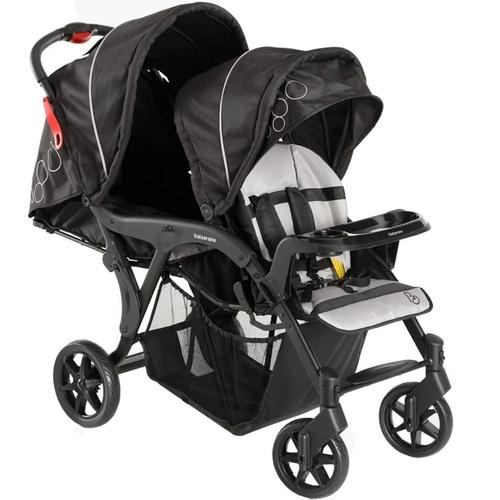 Carrinho de Bebê Gêmeos Denver Preto + 2 Bebê conforto