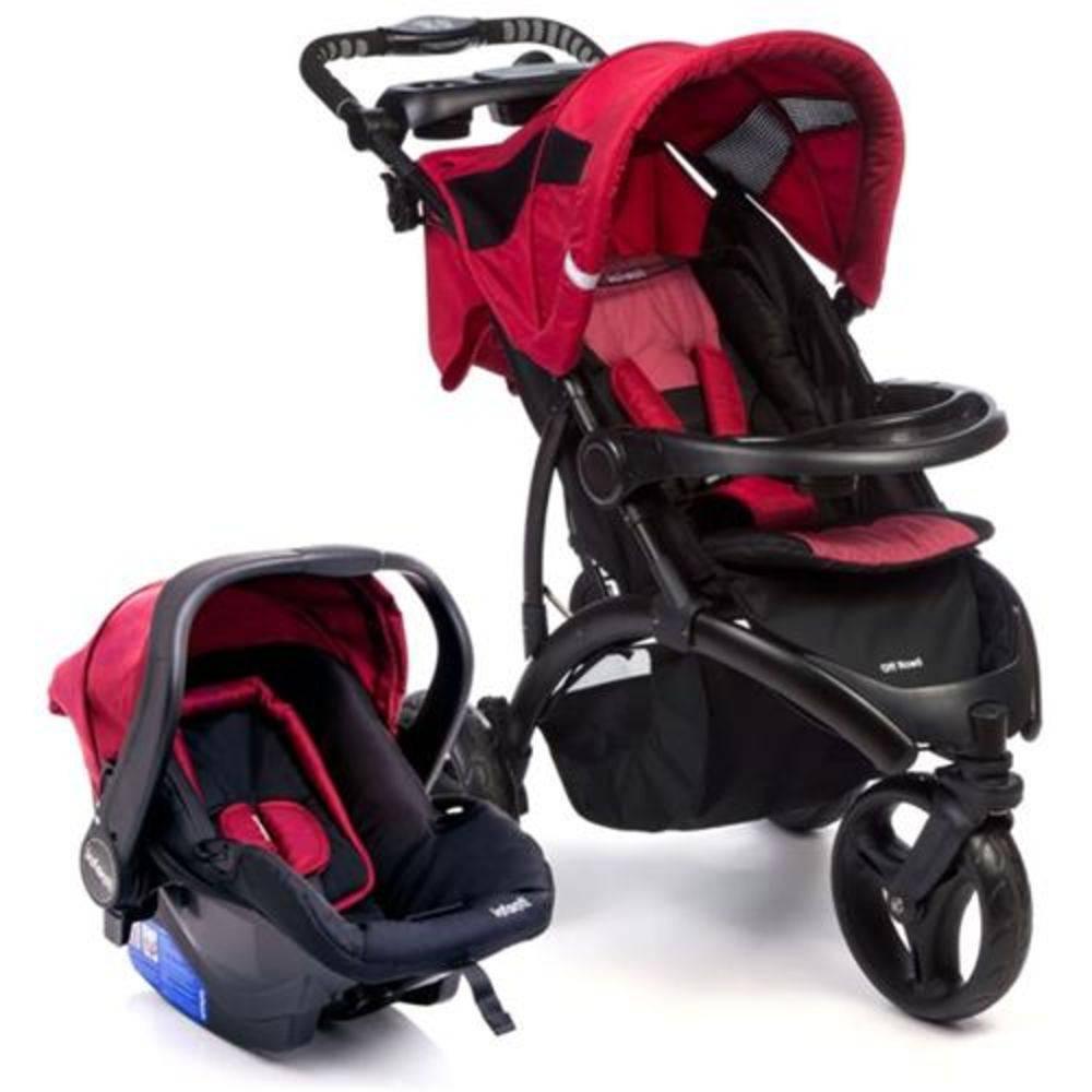 Carrinho de Passeio 3 Rodas Off Road Travel System com Bebê Conforto Cherry - Infanti