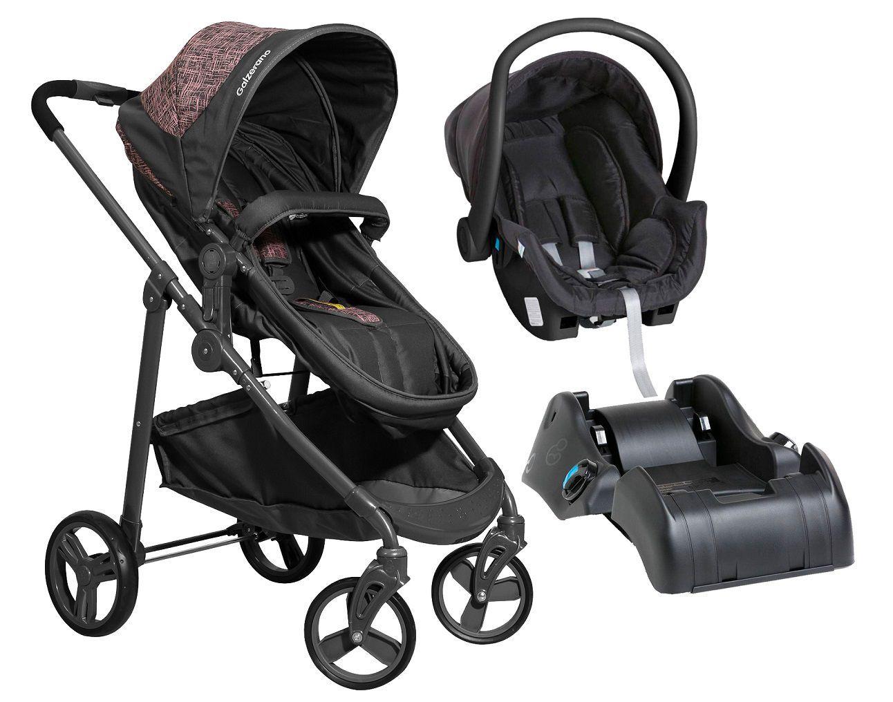 Carrinho de Bebê Olympus Grafite e Rosa + Bebê Conforto + Base - Galzerano