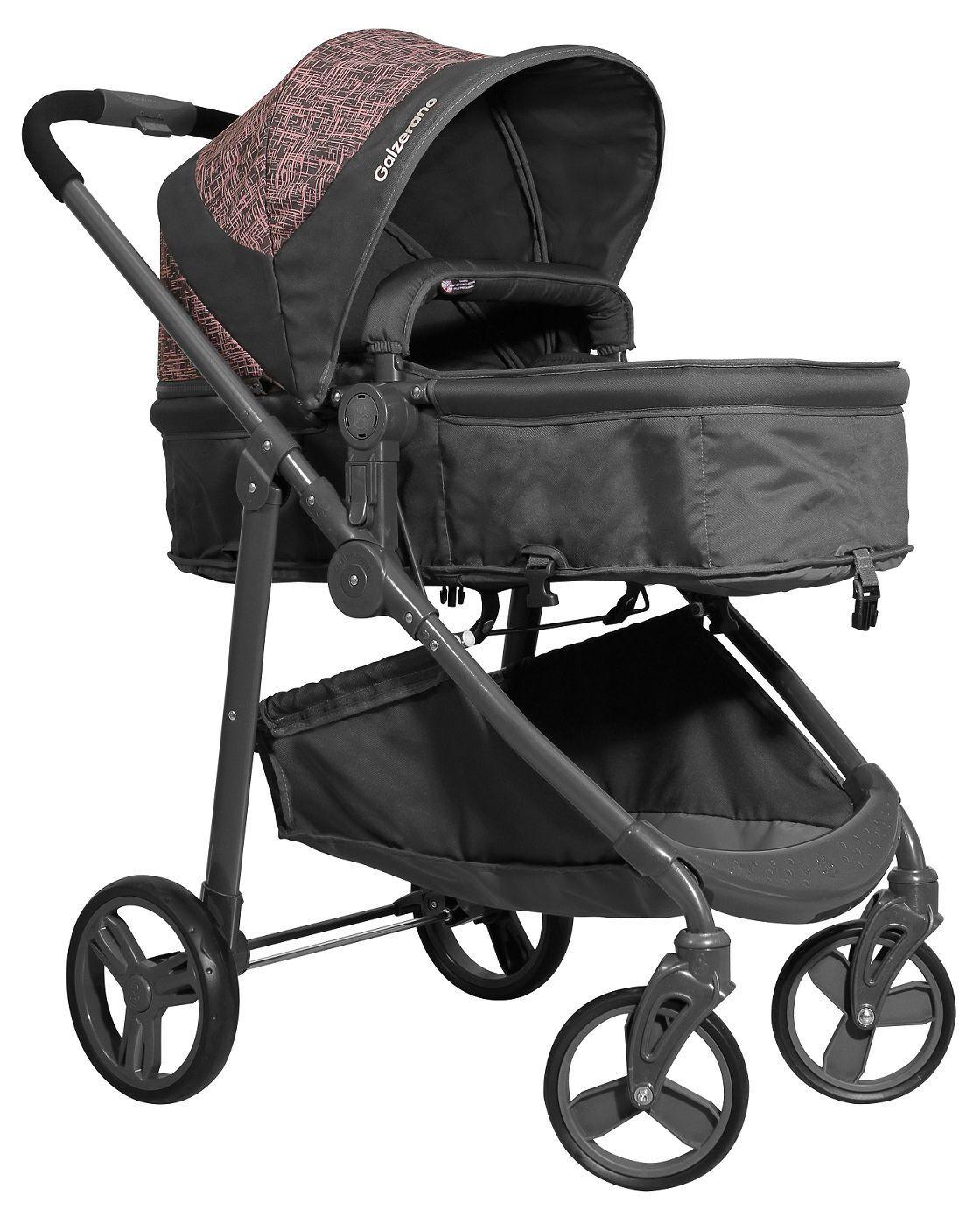 Carrinho de Bebê Olympus Grafite e Rosa + Bebê Conforto - Galzerano