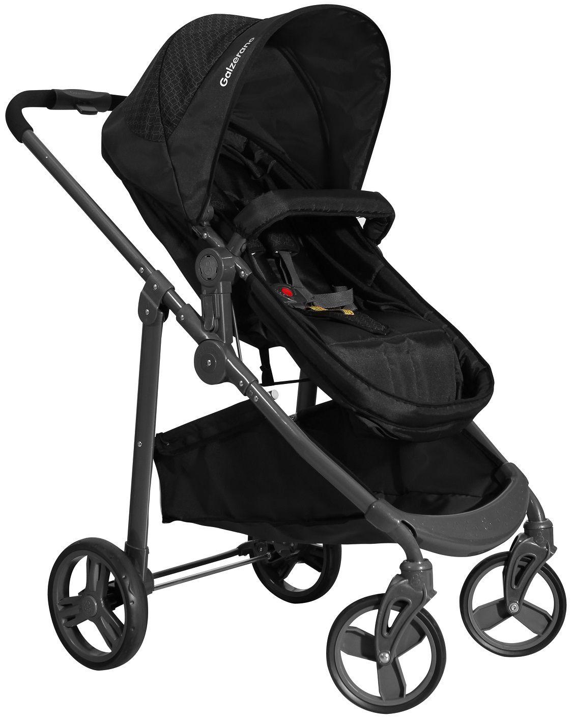 Carrinho de Bebê Olympus Preto + Bebê Conforto + Base - Galzerano