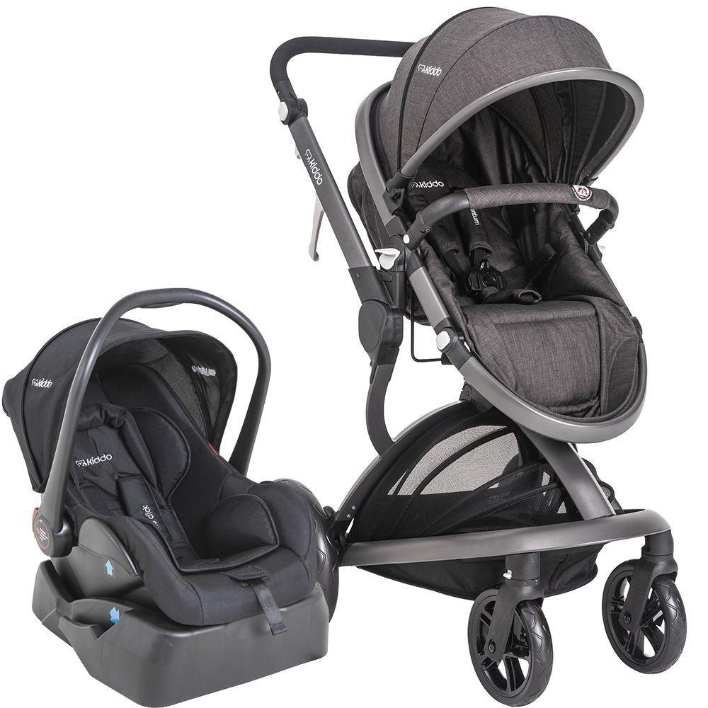 Carrinho de Bebê Quantum Kiddo Melange Preto + Base