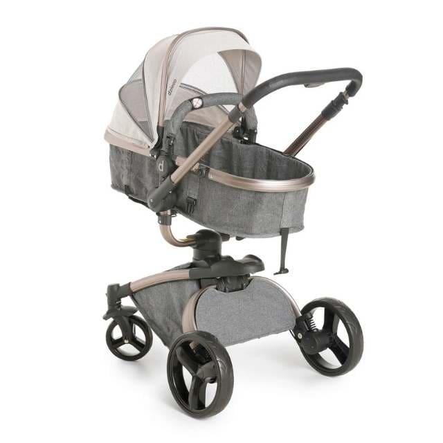 Carrinho Travel System Dzieco Vulkan Multi Posições Cinza e Cobre + Bebê Conforto
