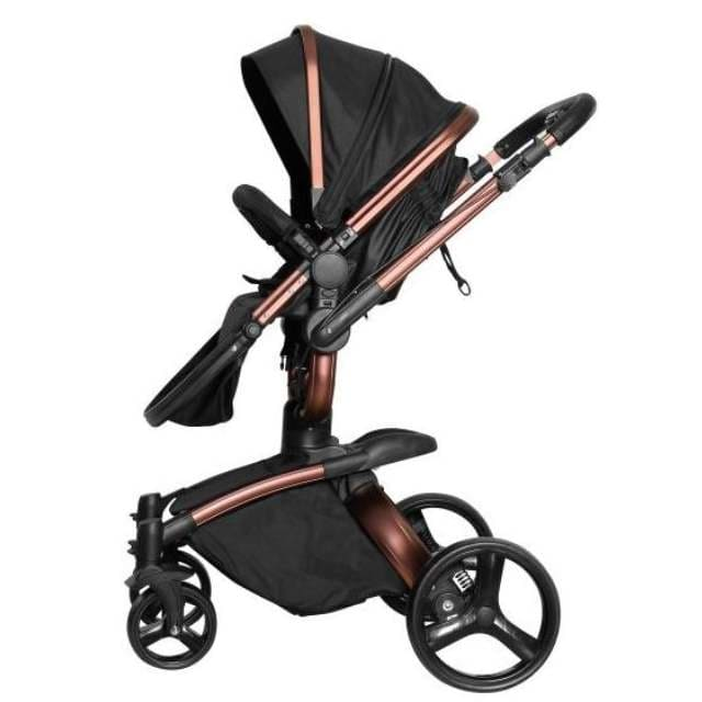 CarrinhoTravel System Galzerano Vulkan Multi Posições Preto e Cobre + Bebê conforto