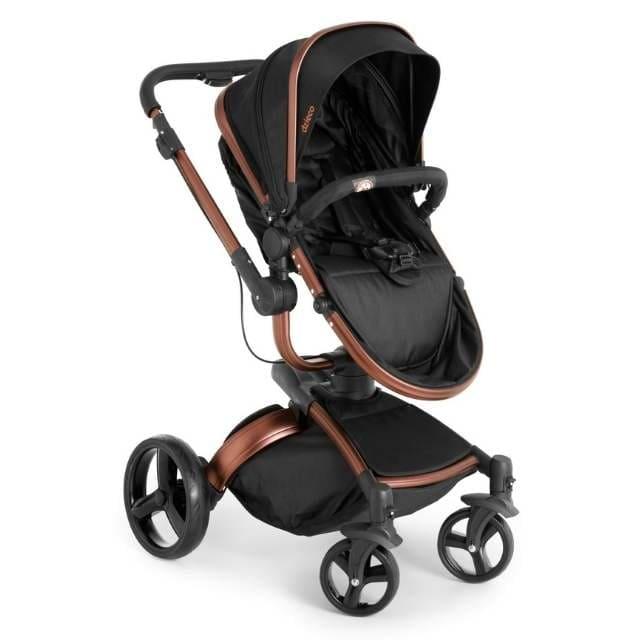 Carrinho Travel System Dzieco Vulkan Multi Posições Preto e Cobre + Bebê Conforto + Base