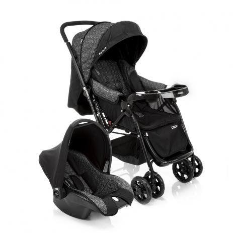 Carrinho de Bebê Travel System Reverse Preto Rajado com Bebê Conforto - Cosco