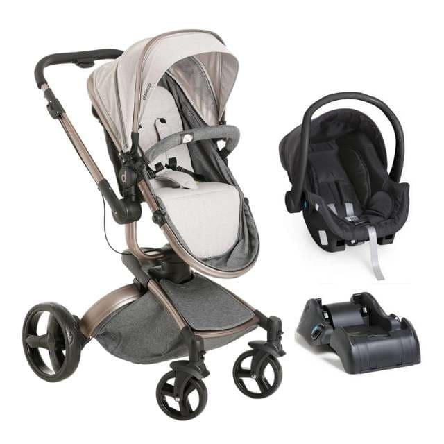Carrinho Travel System Dzieco Vulkan Multi Posições –  Cinza e Cobre + Bebê Conforto + Base