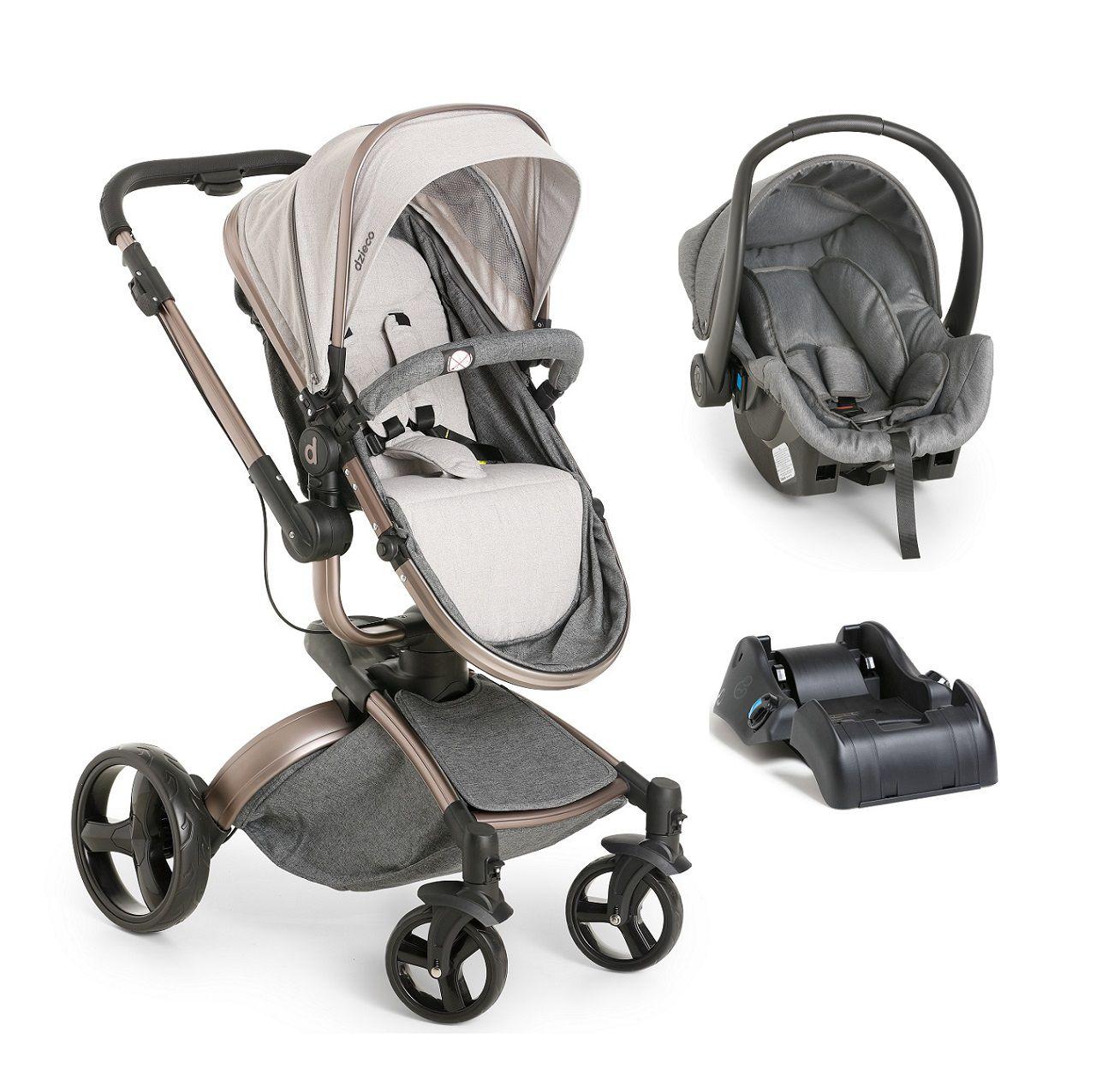 Carrinho De Bebê Travel System Galzerano Vulkan Multi Posições –  Cinza e Cobre + Bebê Conforto + Base
