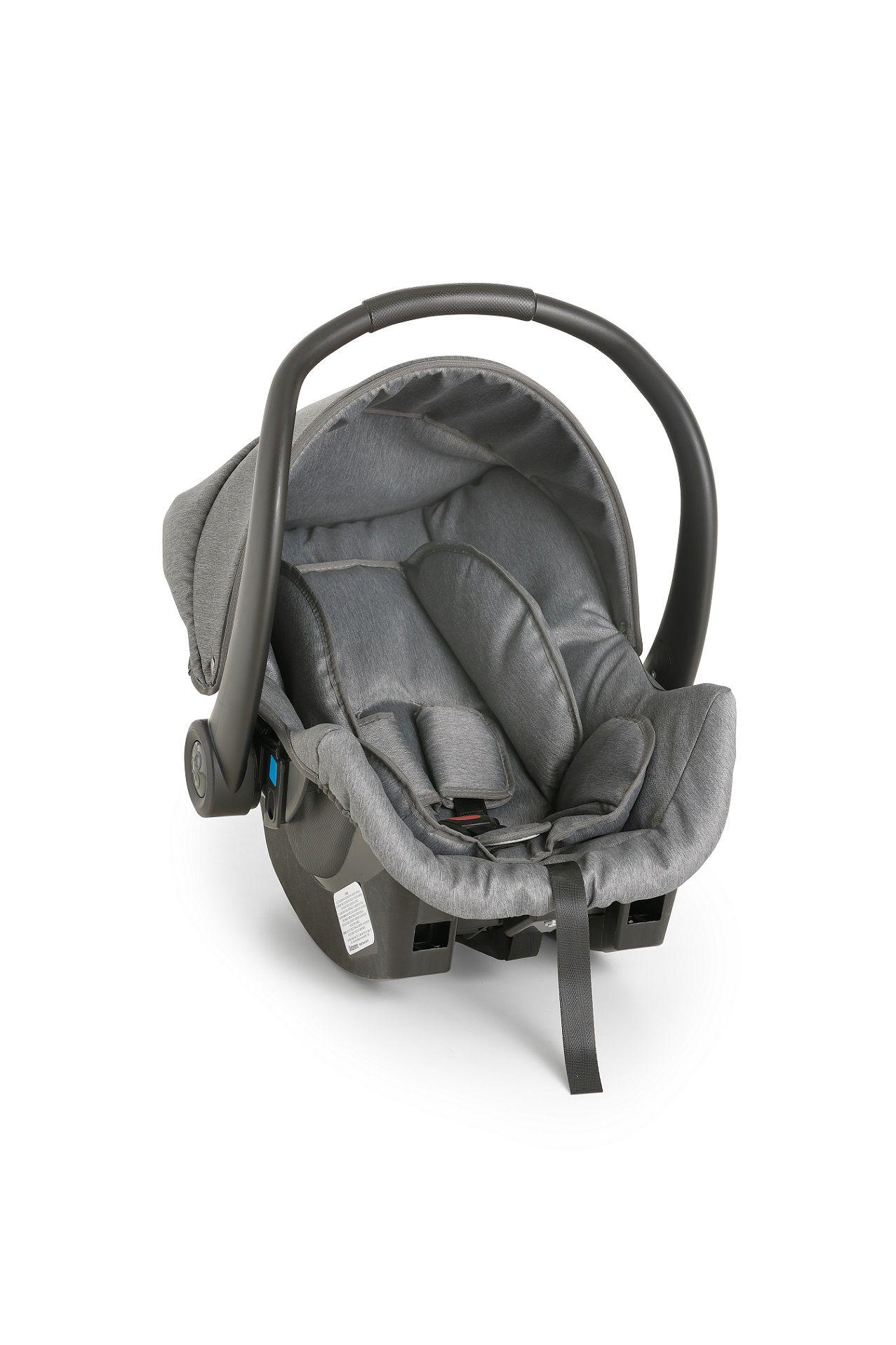 Carrinho De Bebê Travel System Galzerano Vulkan Multi Posições Cinza e Cobre + Bebê Conforto