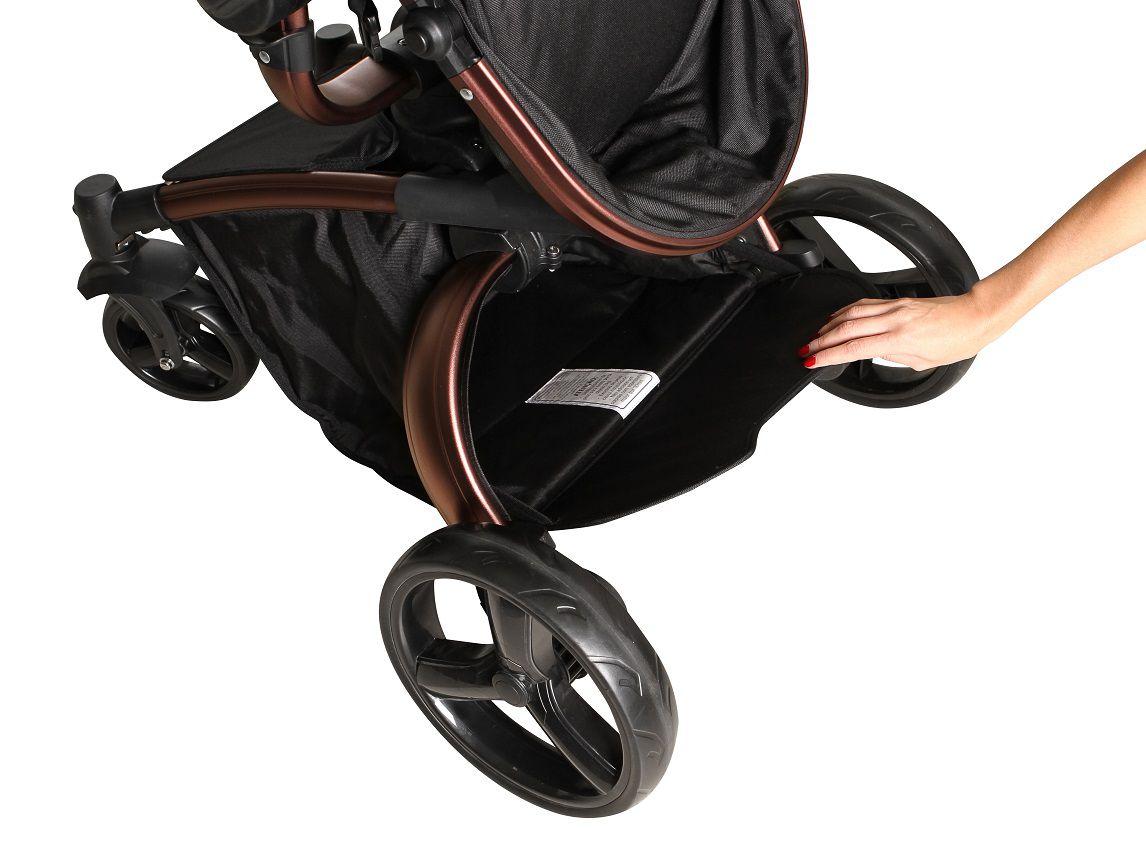 Carrinho Moisés Vulkan 360º Cinza e Cobre + Bebê Conforto - Dzieco