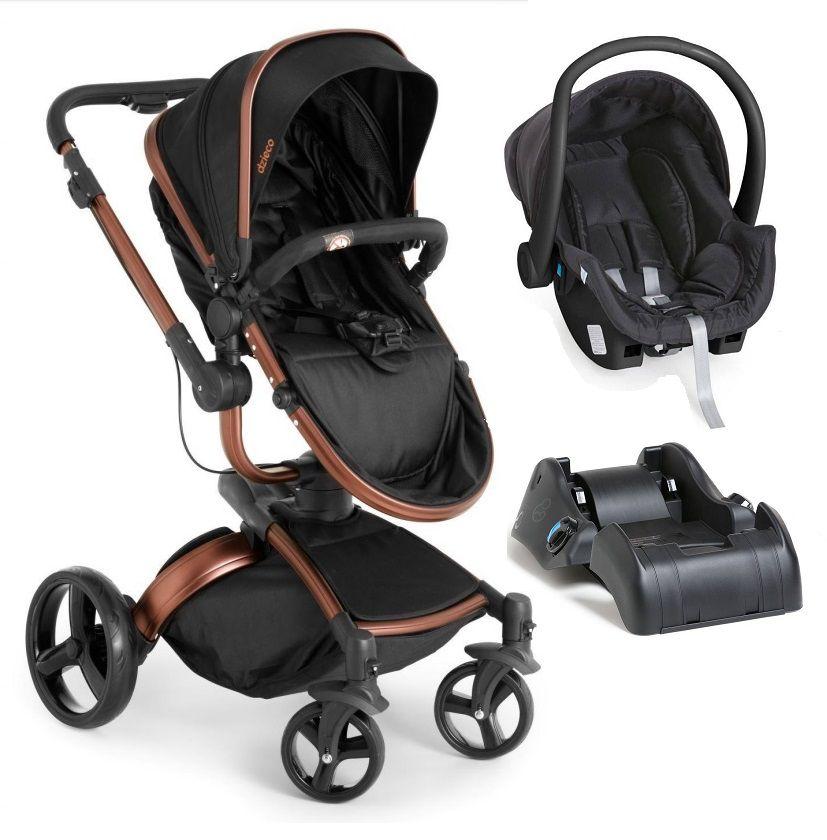 Carrinho De Bebê Travel System Galzerano Vulkan Multi Posições Preto e Cobre + Bebê Conforto + Base