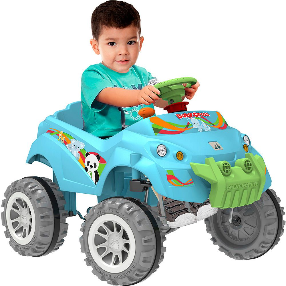 Carro Baby Cross Passeio e Pedal Azul - Bandeirante