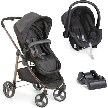 Kit Carrinho Galzerano Olympus Preto + Bebê Conforto + Base Para Carro