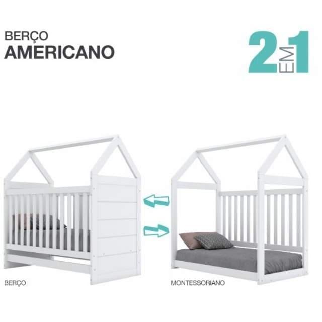 Kit Quarto Infantil Henn Americano Branco - Berço +  Cômoda + Guarda Roupa