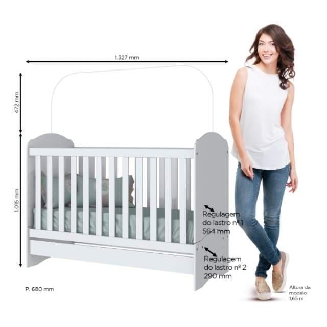 Kit Quarto Infantil Henn Bala de Menta Branco - Berço Mini Cama + Cômoda com5 Gavetas + Guarda-roupa 3 Portas