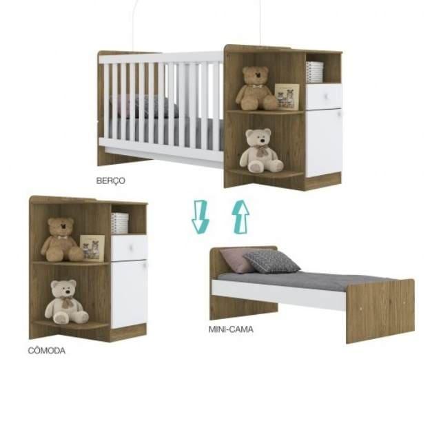 Kit Quarto Infantil Henn Mosaico - Rustico e Branco - Guarda roupa + Cômoda + Berço Mini Cama
