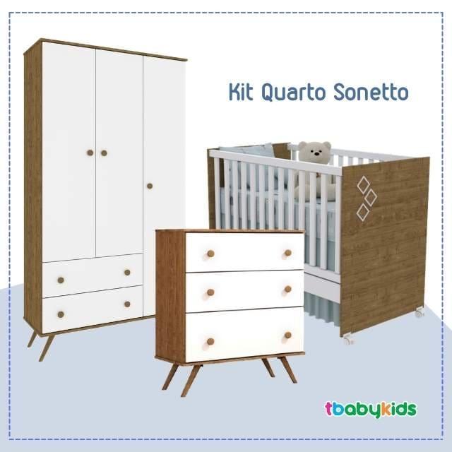 Kit Quarto Infantil Tcil Sonetto - Imbuia Branco  - Comoda + Guarda Roupa + Berço