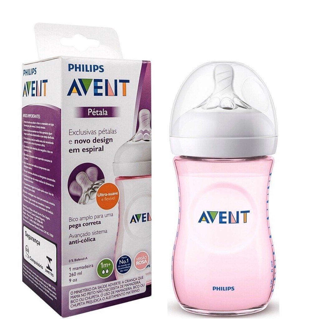 MAMADEIRA AVENT PÉTALA ANTI-CÓLICA 260 ml - 0% BPA - ROSA - PHILIPS AVENT