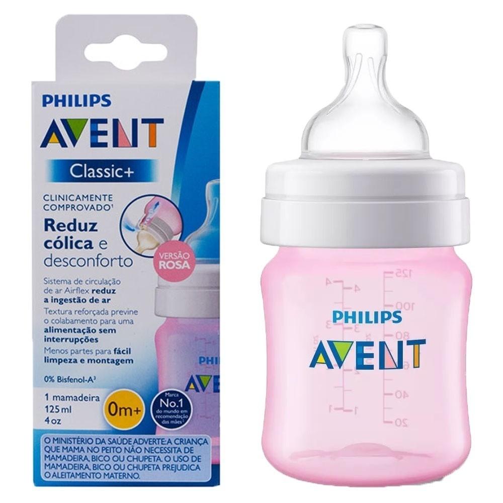 Mamadeira -  Rosa - Anti Cólica - 125 ml - Philips Avent