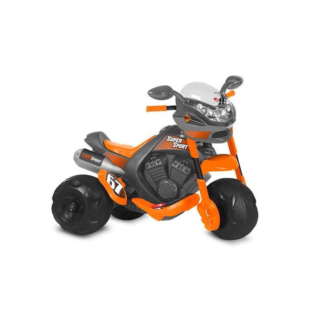 Moto Elétrica Infantil Supersport 6v Cinza e laranja - Bandeirante