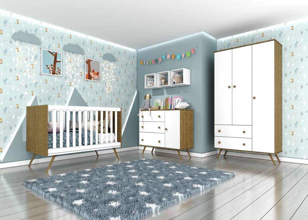 Kit Quarto Infantil Twister Henn Branco com Imbuía - Berço + Cômoda com Porta + Guarda-roupa