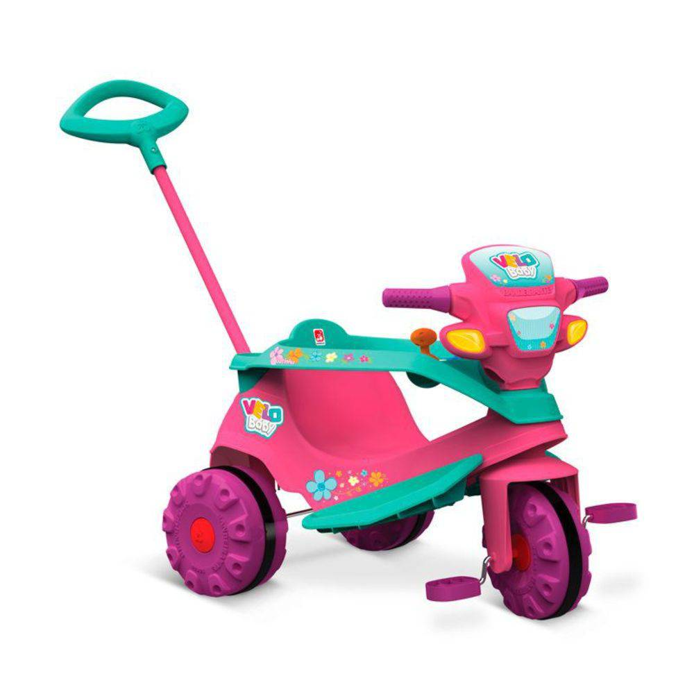 Triciclo Infantil com Empurrador Bandeirante Velobaby Rosa