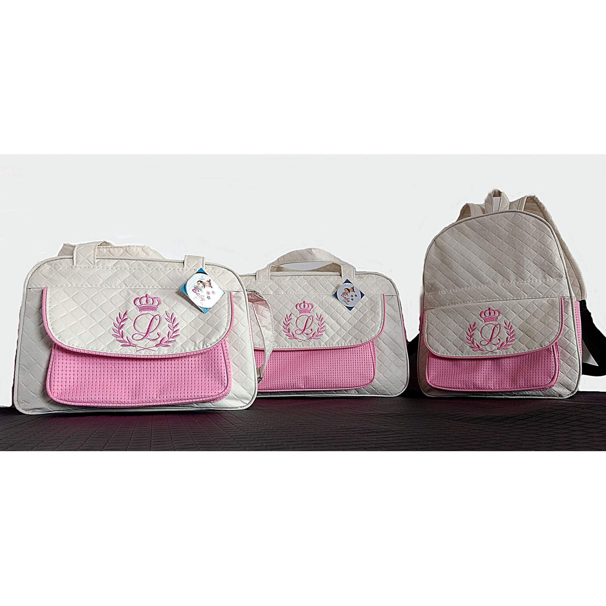 Kit Bolsa grande e Bolsa pequena + Mochila  Maternidade Personalizadas 3pçs Menina
