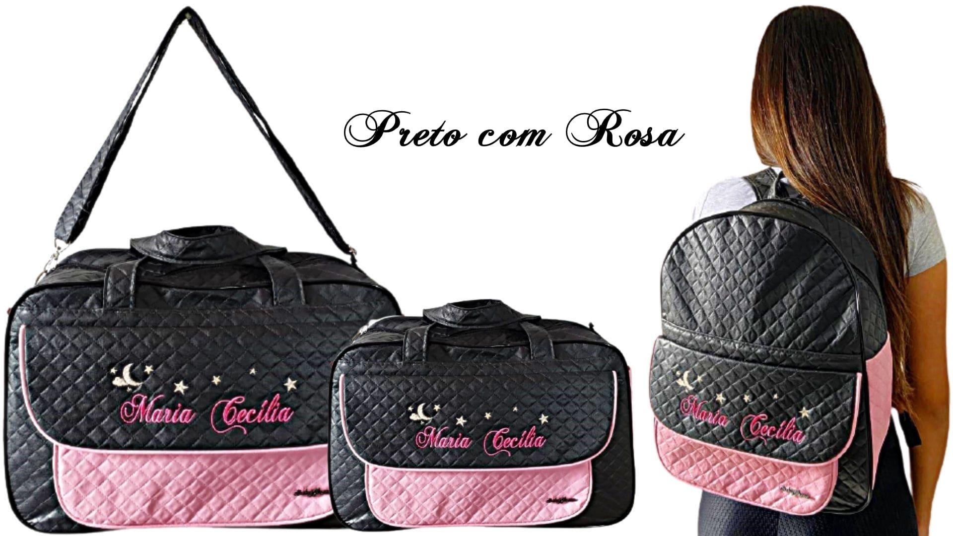 Kit Bolsa grande + Bolsa Pequena + Mochila  Maternidade Personalizadas Menina 3pçs