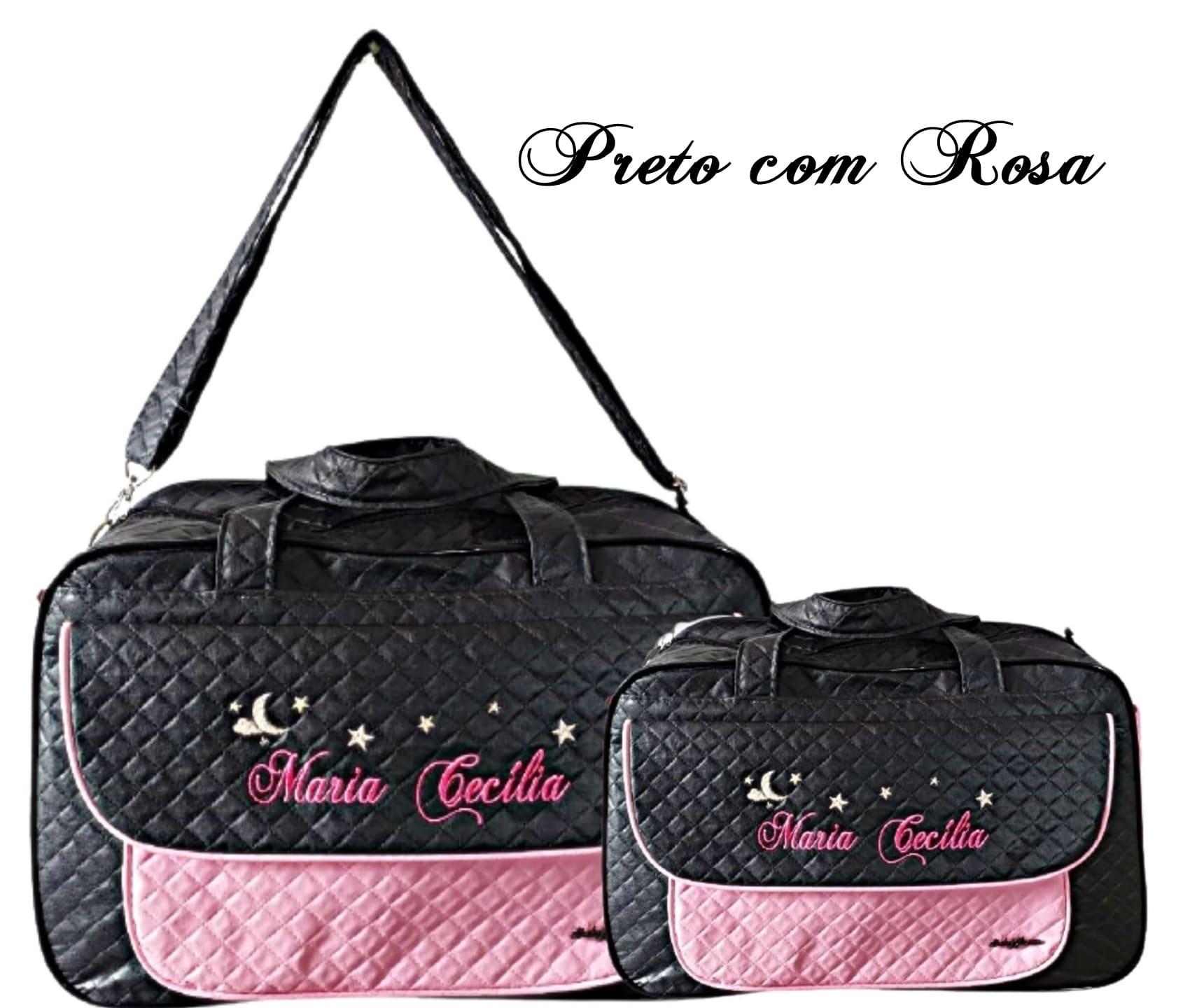 Kit Bolsa grande e Bolsa pequena + Mochila  Maternidade Personalizadas 2pçs Menina