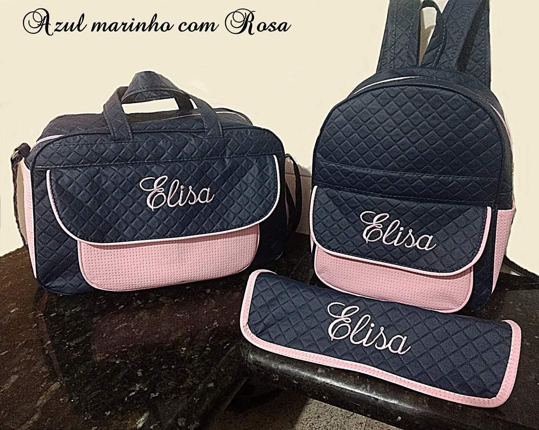 Kit Bolsa grande e Mochila + Trocador  Maternidade Personalizadas 3pçs Menina
