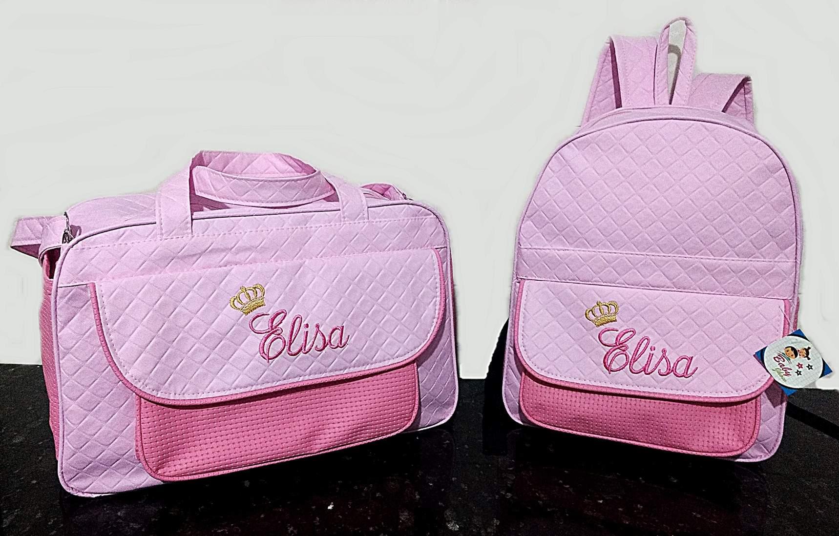 Kit Bolsa grande + Mochila Maternidade Personalizadas Menina 2pçs