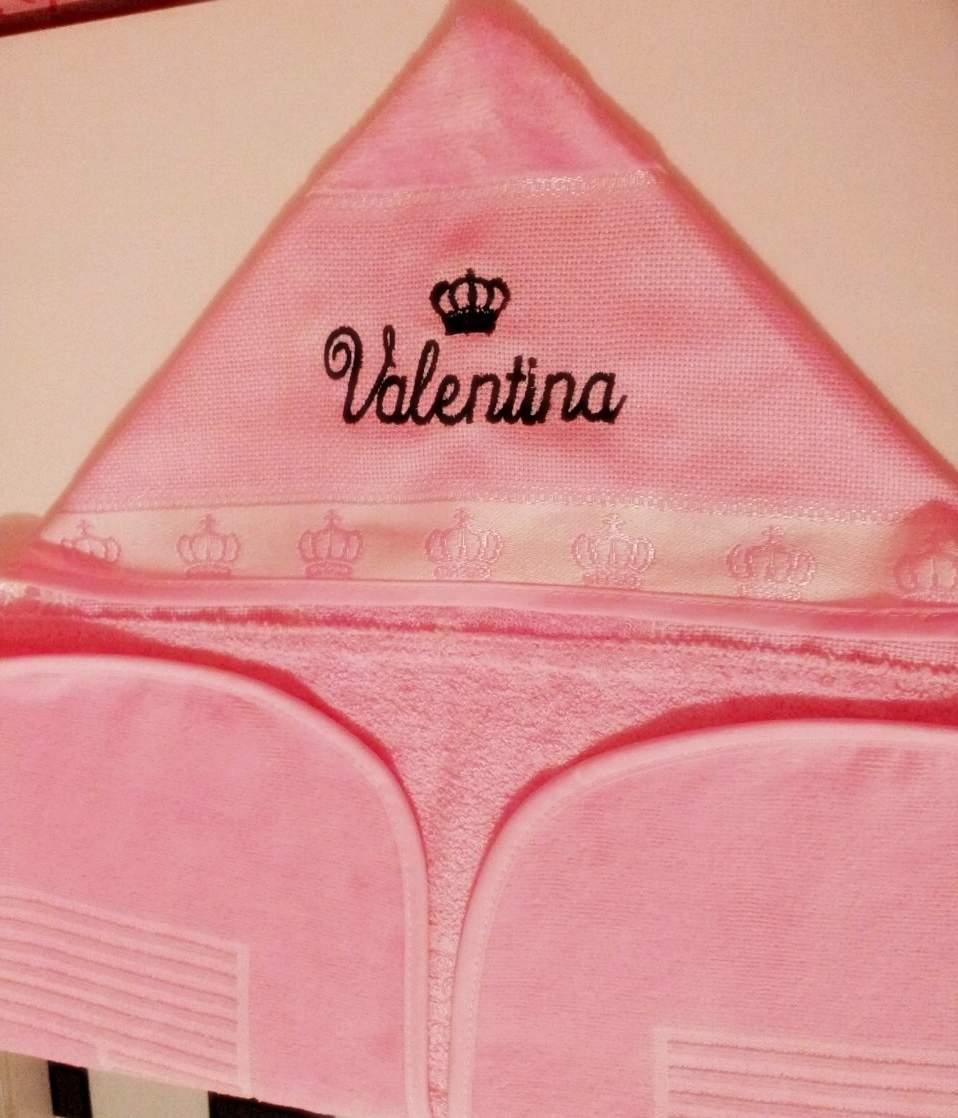 Toalha de banho com Capuz Rosa personalizada