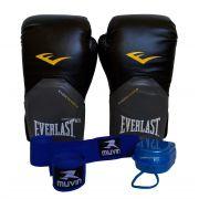 fc49b82bc Kit Muay Thai Boxe Everlast Luva Bandagens Bucal 14 Oz Pro Style