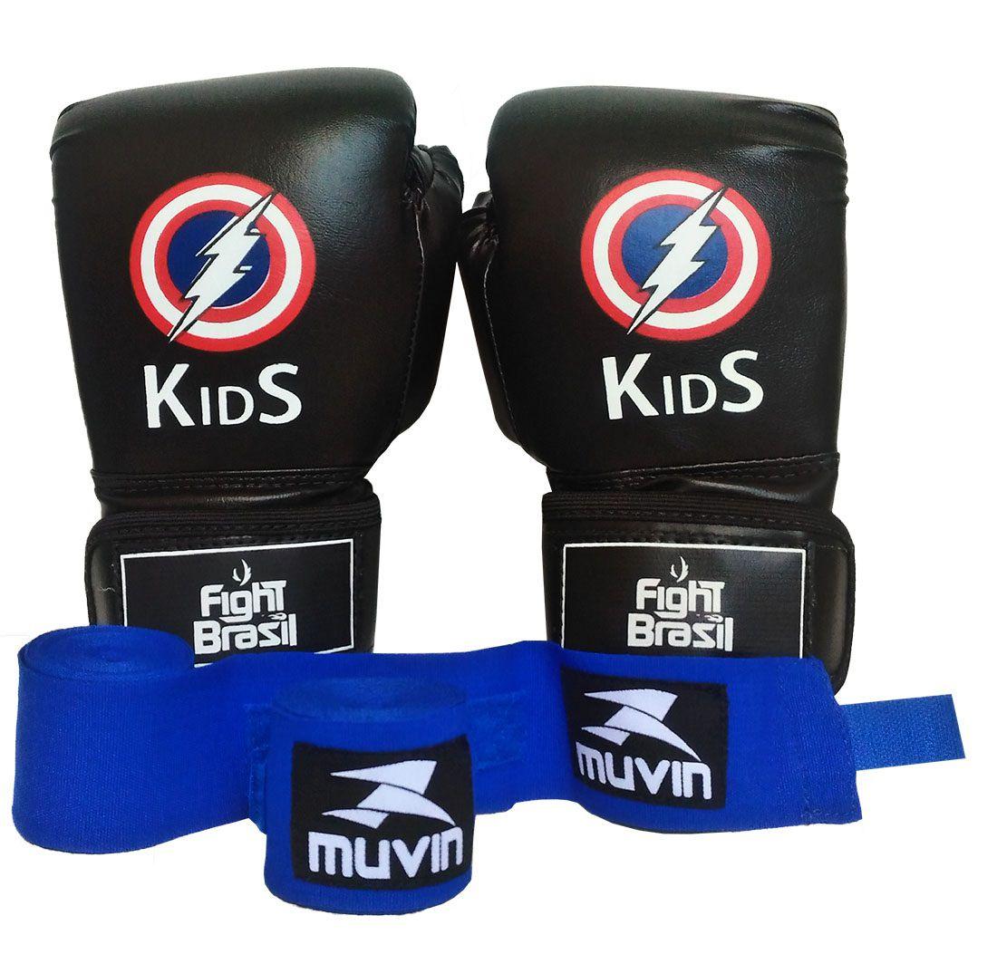 164e88e44 Kit Boxe Muay Thai Luva Bandagens Infantil Kids 04 Oz Preta Fight Brasil -  Comprar Online .Net