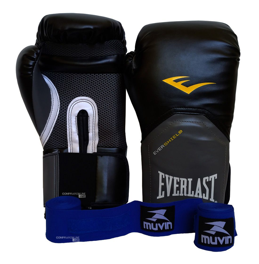 61defa81e Kit Boxe Muay Thai Luva Com Bandagens 12 Oz Everlast Pro Style - Comprar  Online .Net