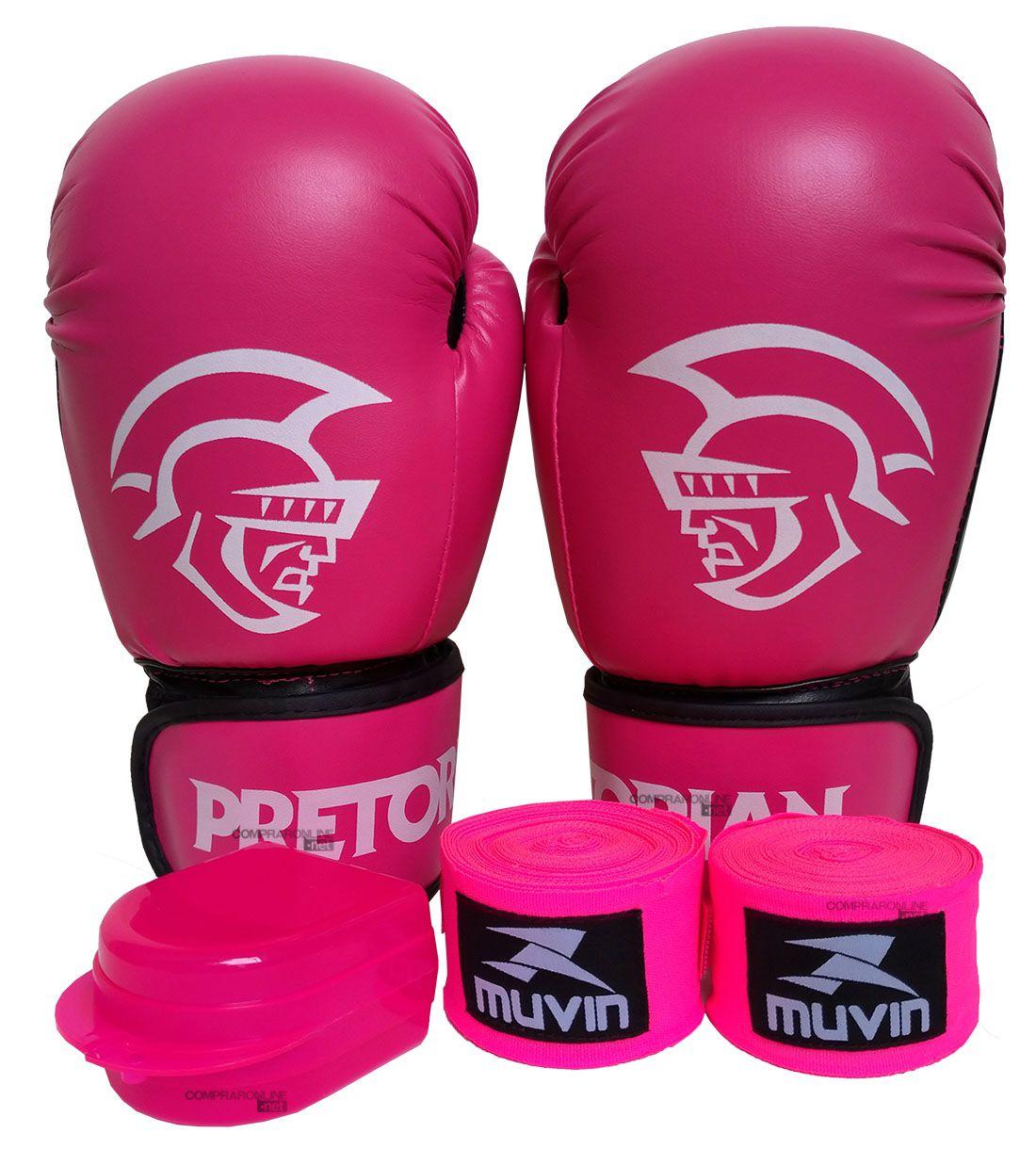 63d23cbb4 Kit Muay Thai Boxe Luva Bandagens Bucal Pretorian 12 Oz Rosa ...