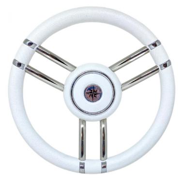 Volante Náutico Aço Inox - PU Branco 35cm Ø T27w/35