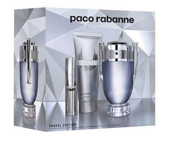 Invictus Paco Rabanne Masculino Kit EDT 100ML + Miniatura 10ML + Shampoo 100ML