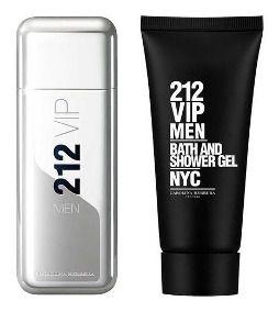 Kit 212 Vip Black Carolina Herrera Masculino Eau de Parfum 100ml+Gel de banho 100ml