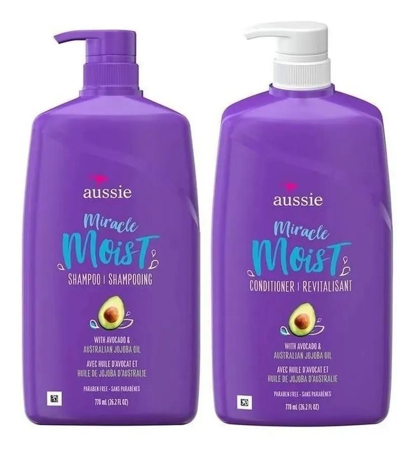 Kit  Aussie Miracle Moist Shampoo 778ml + Condicionador 778ml